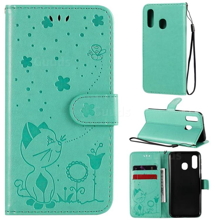 Embossing Bee and Cat Leather Wallet Case for Samsung Galaxy A40 - Green