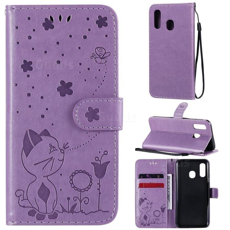 Embossing Bee and Cat Leather Wallet Case for Samsung Galaxy A40 - Purple