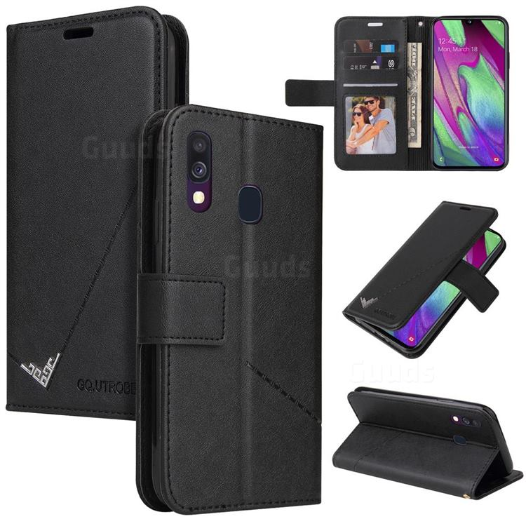 GQ.UTROBE Right Angle Silver Pendant Leather Wallet Phone Case for Samsung Galaxy A40 - Black