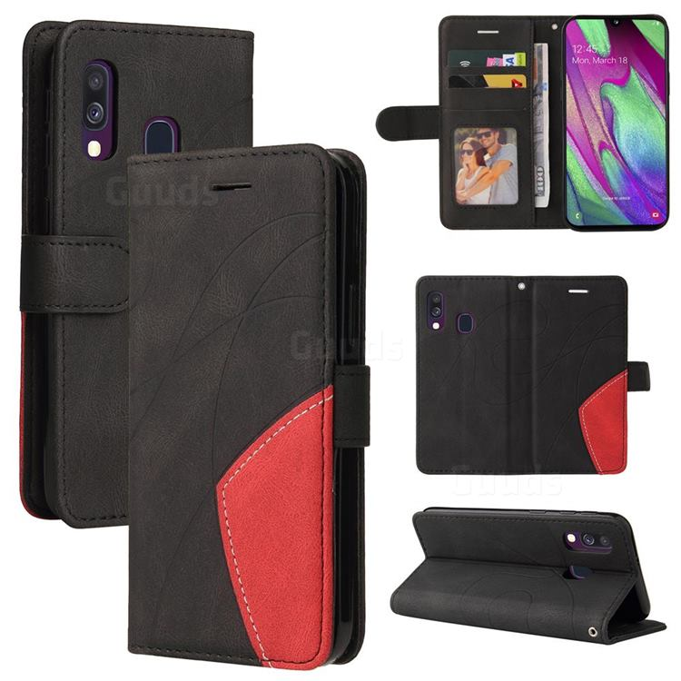 Luxury Two-color Stitching Leather Wallet Case Cover for Samsung Galaxy A40 - Black