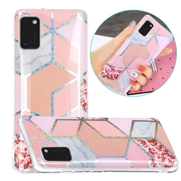 Pink Marble Painted Galvanized Electroplating Soft Phone Case Cover for Samsung Galaxy A41