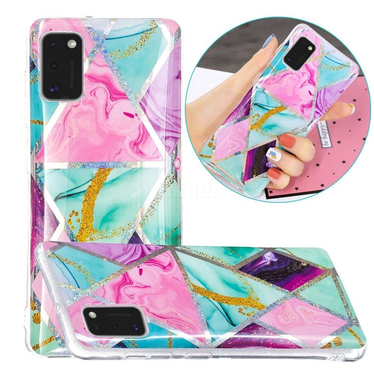 Triangular Marble Painted Galvanized Electroplating Soft Phone Case Cover for Samsung Galaxy A41
