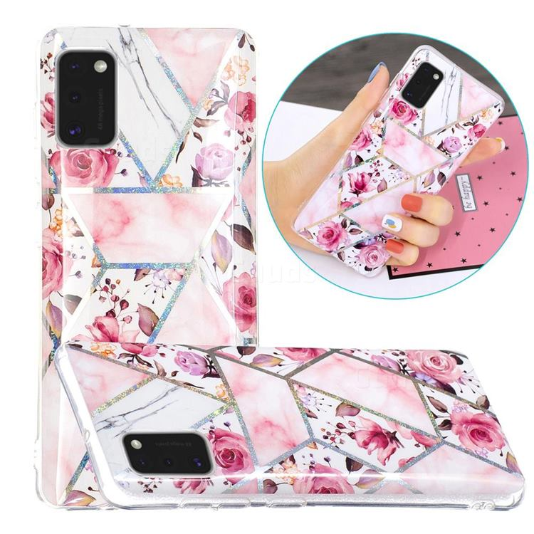 Rose Flower Painted Galvanized Electroplating Soft Phone Case Cover for Samsung Galaxy A41