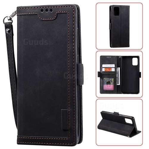 Luxury Retro Stitching Leather Wallet Phone Case for Samsung Galaxy A41 - Black