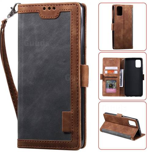 Luxury Retro Stitching Leather Wallet Phone Case for Samsung Galaxy A41 - Gray