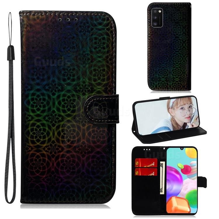 Laser Circle Shining Leather Wallet Phone Case for Samsung Galaxy A41 - Black