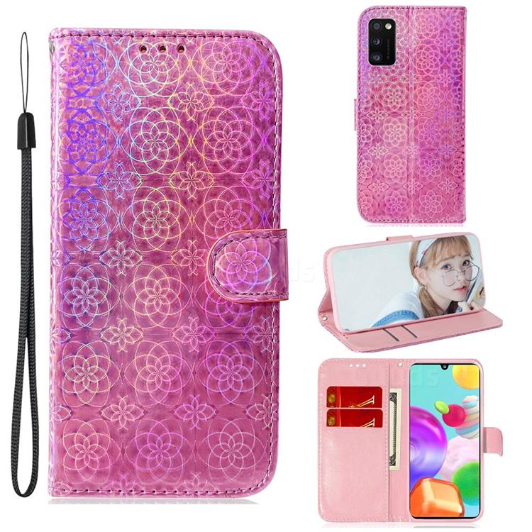 Laser Circle Shining Leather Wallet Phone Case for Samsung Galaxy A41 - Pink