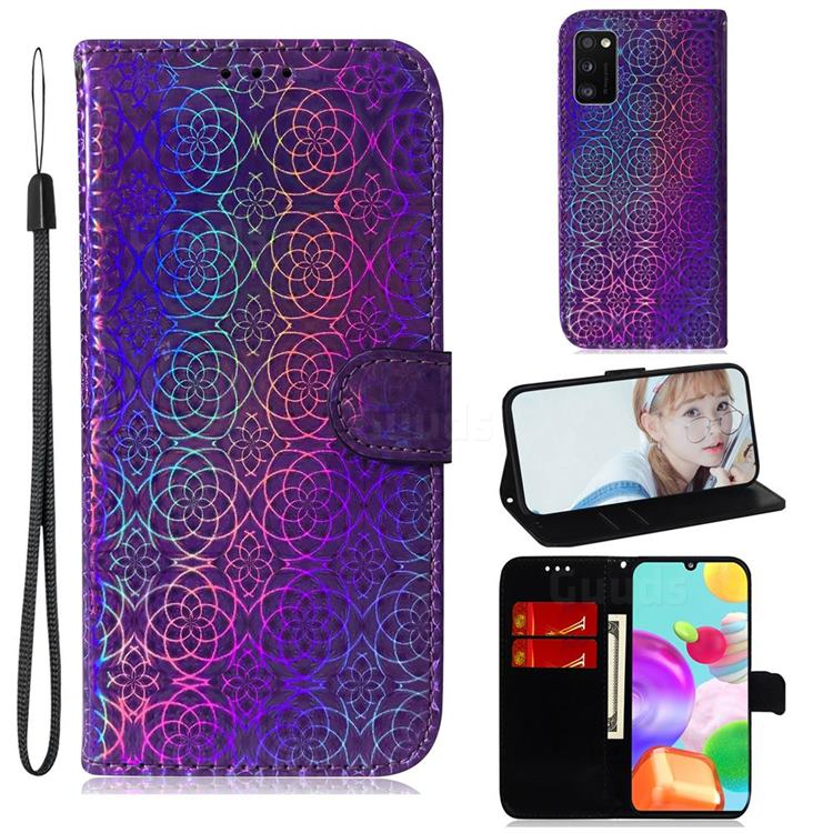 Laser Circle Shining Leather Wallet Phone Case for Samsung Galaxy A41 - Purple
