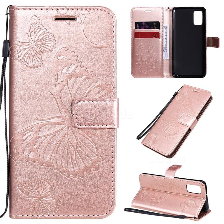 Embossing 3D Butterfly Leather Wallet Case for Samsung Galaxy A41 - Rose Gold
