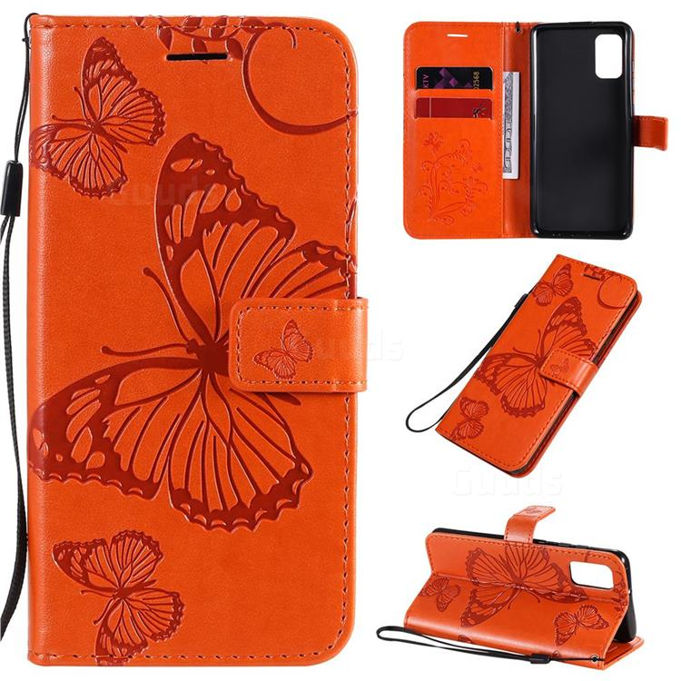 Embossing 3D Butterfly Leather Wallet Case for Samsung Galaxy A41 - Orange