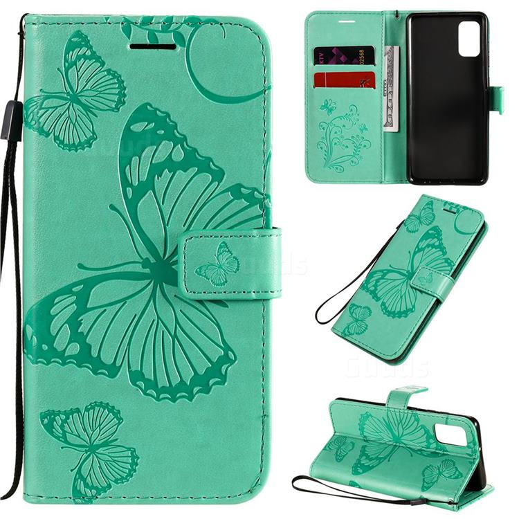 Embossing 3D Butterfly Leather Wallet Case for Samsung Galaxy A41 - Green