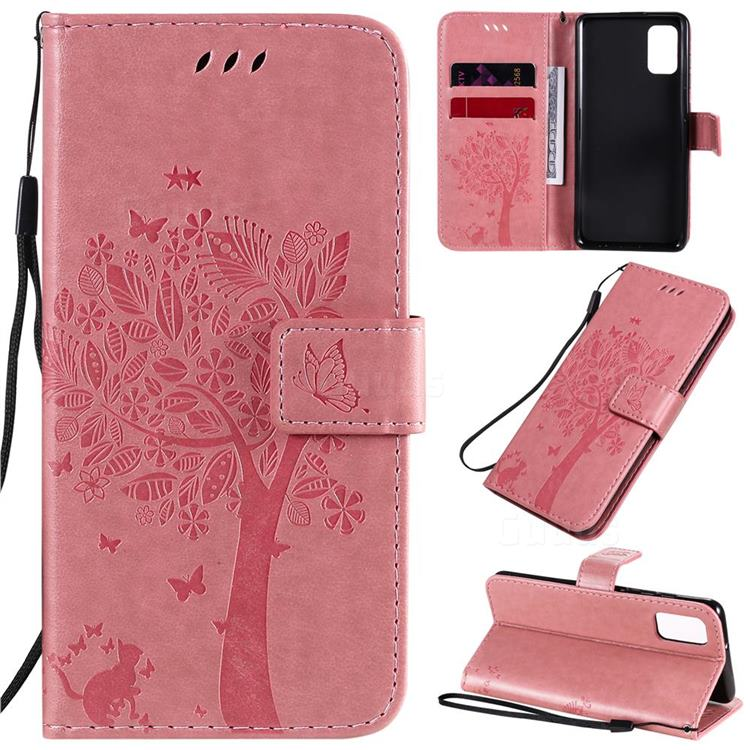 Embossing Butterfly Tree Leather Wallet Case for Samsung Galaxy A41 - Pink