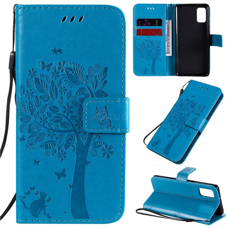 Embossing Butterfly Tree Leather Wallet Case for Samsung Galaxy A41 - Blue
