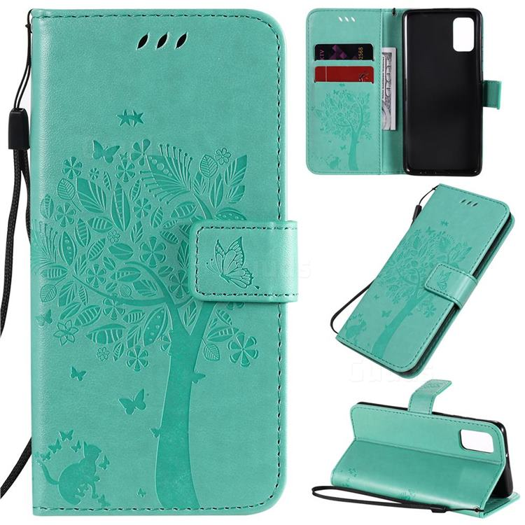 Embossing Butterfly Tree Leather Wallet Case for Samsung Galaxy A41 - Cyan