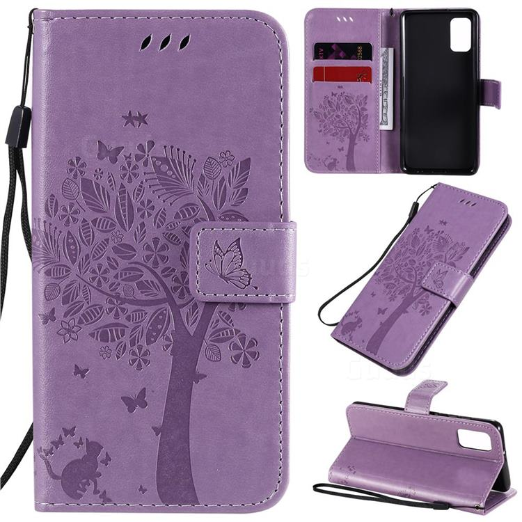 Embossing Butterfly Tree Leather Wallet Case for Samsung Galaxy A41 - Violet