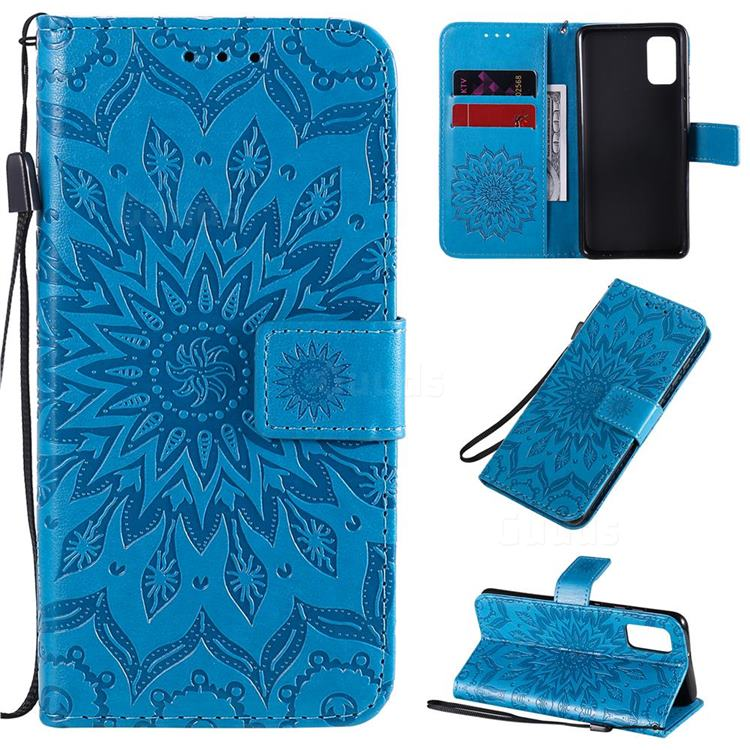Embossing Sunflower Leather Wallet Case for Samsung Galaxy A41 - Blue