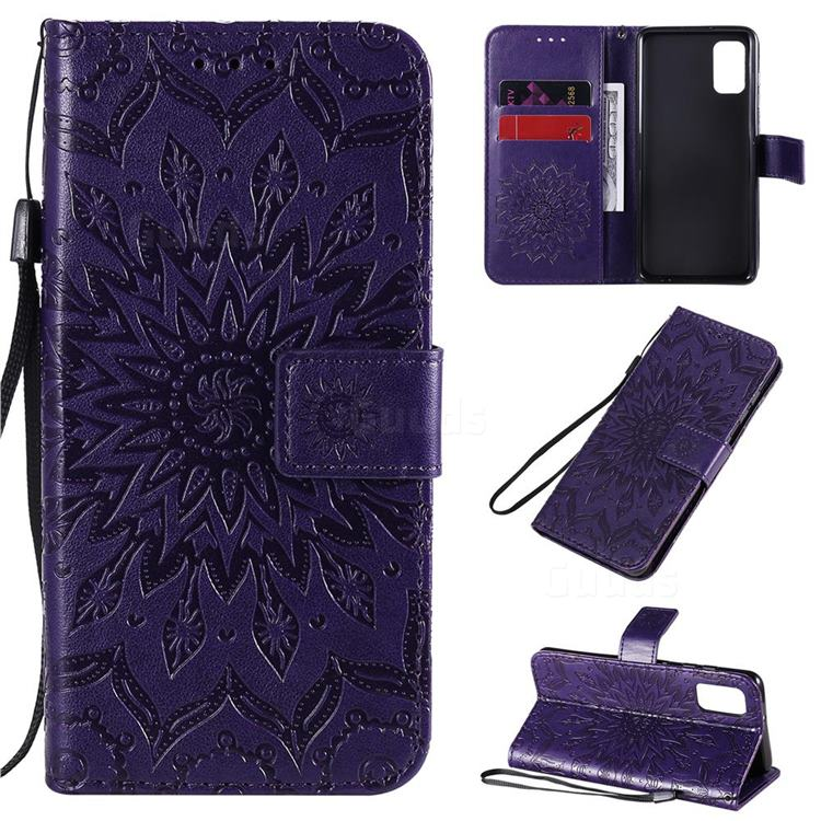 Embossing Sunflower Leather Wallet Case for Samsung Galaxy A41 - Purple