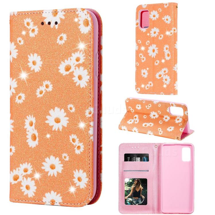 Ultra Slim Daisy Sparkle Glitter Powder Magnetic Leather Wallet Case for Samsung Galaxy A41 - Orange