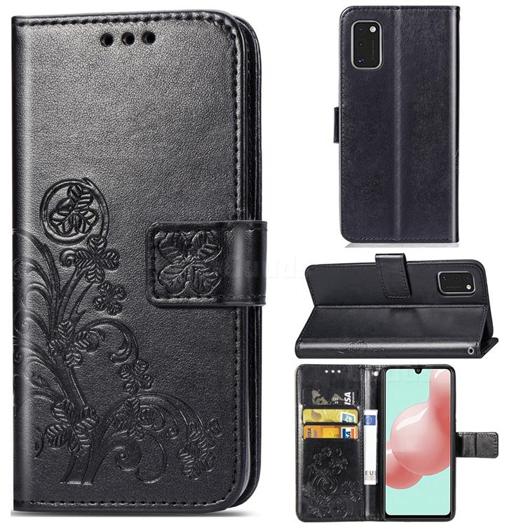 Embossing Imprint Four-Leaf Clover Leather Wallet Case for Samsung Galaxy A41 - Black