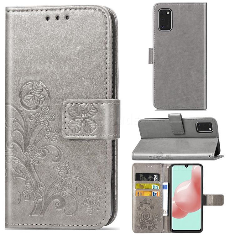 Embossing Imprint Four-Leaf Clover Leather Wallet Case for Samsung Galaxy A41 - Grey