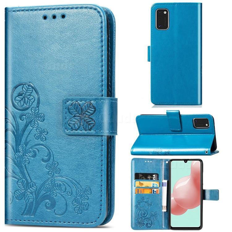 Embossing Imprint Four-Leaf Clover Leather Wallet Case for Samsung Galaxy A41 - Blue