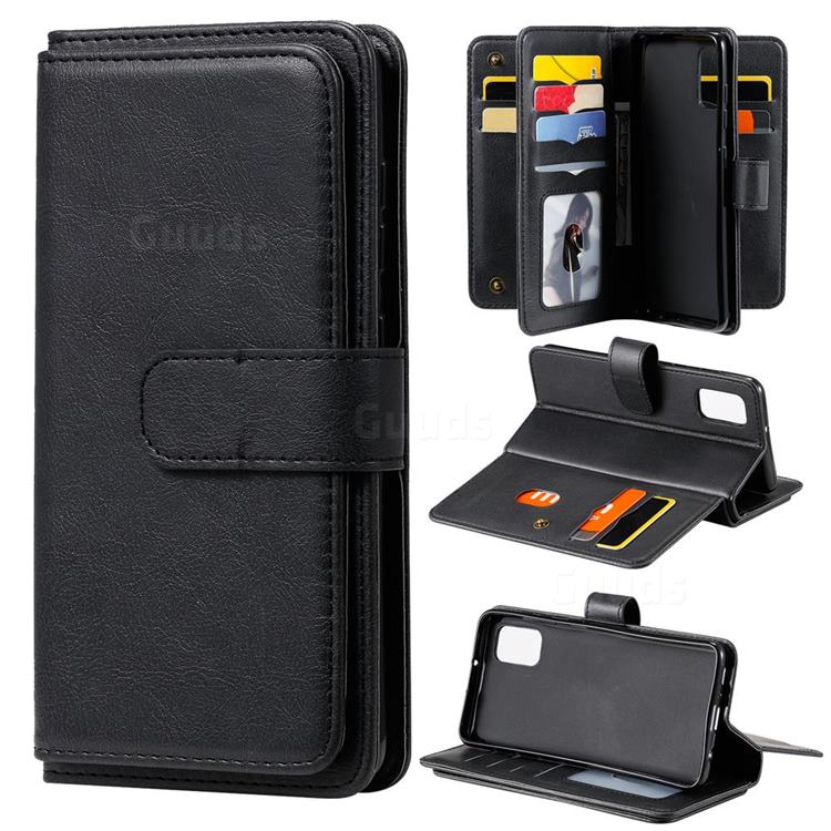 Multi-function Ten Card Slots and Photo Frame PU Leather Wallet Phone Case Cover for Samsung Galaxy A41 - Black
