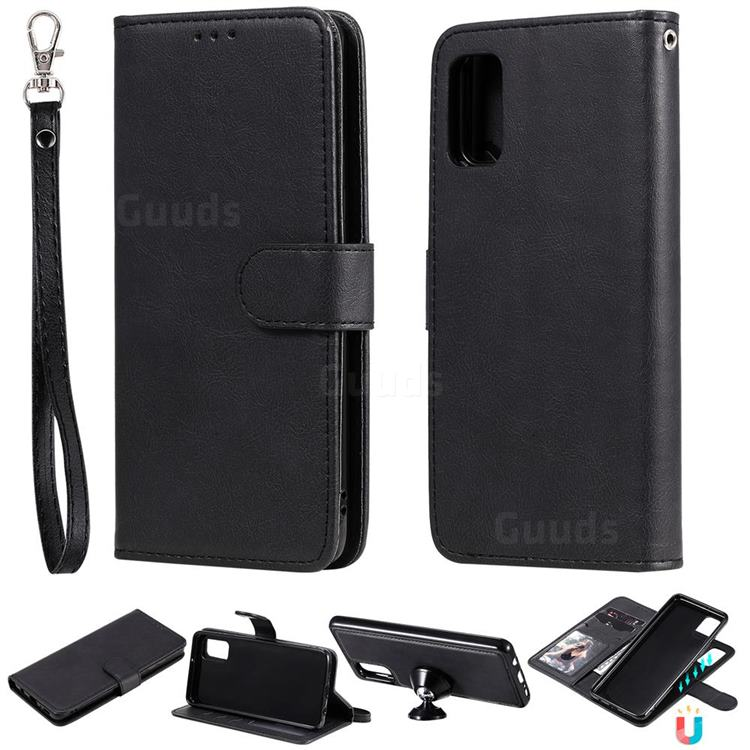 Retro Greek Detachable Magnetic PU Leather Wallet Phone Case for Samsung Galaxy A41 - Black