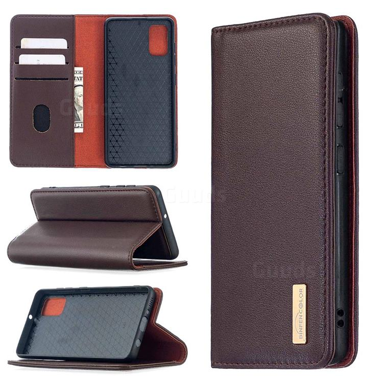 Binfen Color BF06 Luxury Classic Genuine Leather Detachable Magnet Holster Cover for Samsung Galaxy A41 - Dark Brown