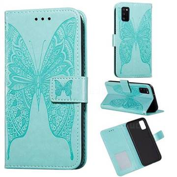 Intricate Embossing Vivid Butterfly Leather Wallet Case for Samsung Galaxy A41 - Green