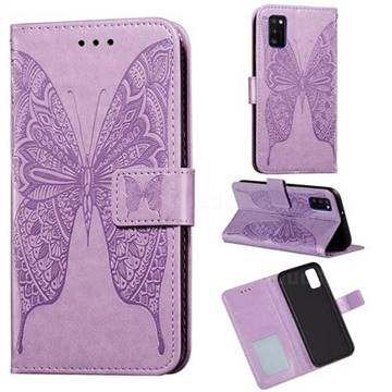 Intricate Embossing Vivid Butterfly Leather Wallet Case for Samsung Galaxy A41 - Purple