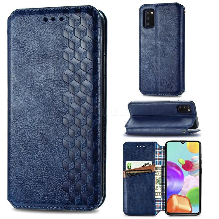 Ultra Slim Fashion Business Card Magnetic Automatic Suction Leather Flip Cover for Samsung Galaxy A41 - Dark Blue