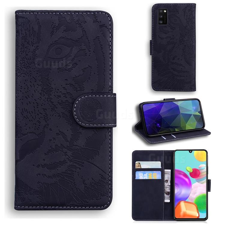 Intricate Embossing Tiger Face Leather Wallet Case for Samsung Galaxy A41 - Black