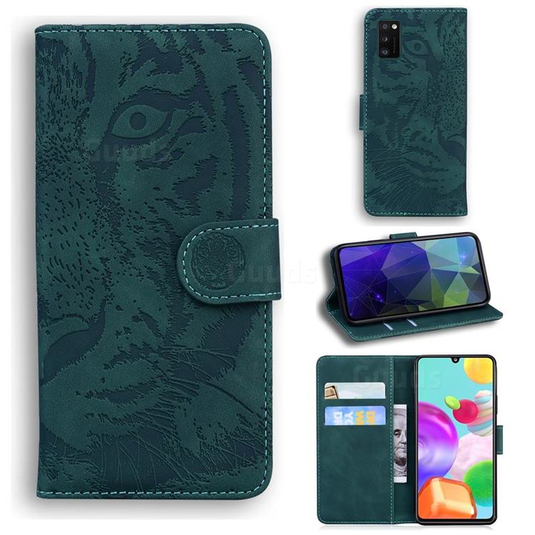 Intricate Embossing Tiger Face Leather Wallet Case for Samsung Galaxy A41 - Green
