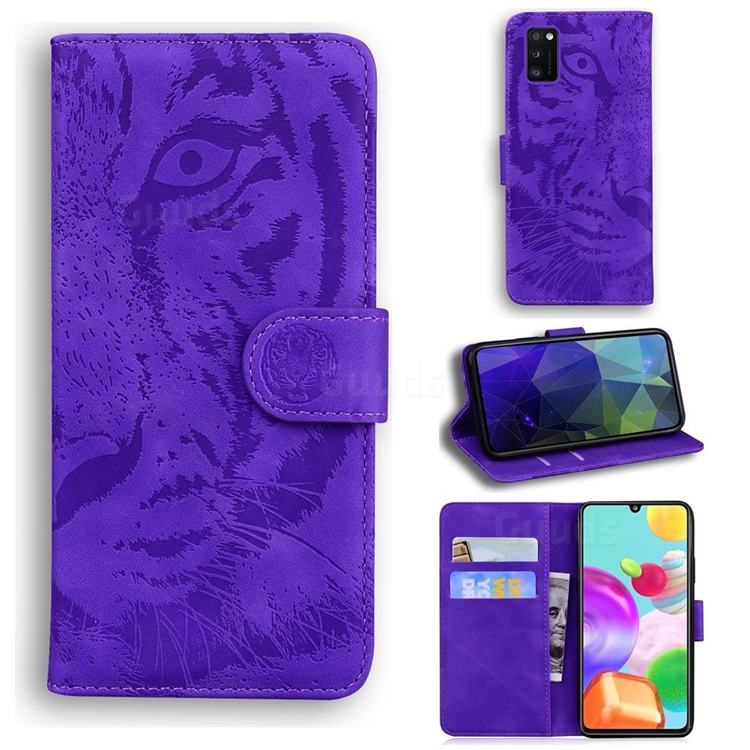 Intricate Embossing Tiger Face Leather Wallet Case for Samsung Galaxy A41 - Purple