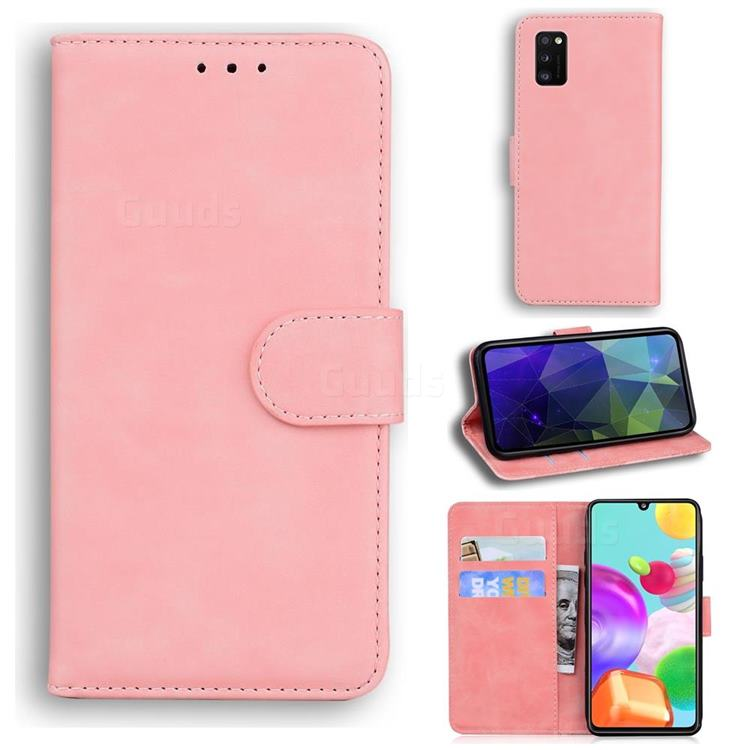 Retro Classic Skin Feel Leather Wallet Phone Case for Samsung Galaxy A41 - Pink