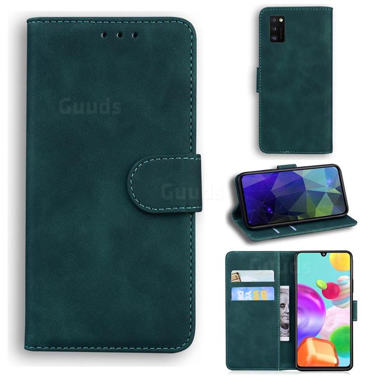 Retro Classic Skin Feel Leather Wallet Phone Case for Samsung Galaxy A41 - Green