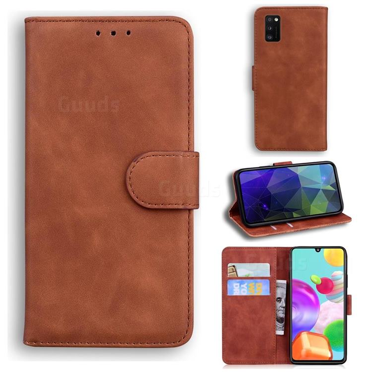 Retro Classic Skin Feel Leather Wallet Phone Case for Samsung Galaxy A41 - Brown
