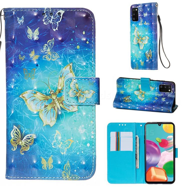 Gold Butterfly 3D Painted Leather Wallet Case for Samsung Galaxy A41