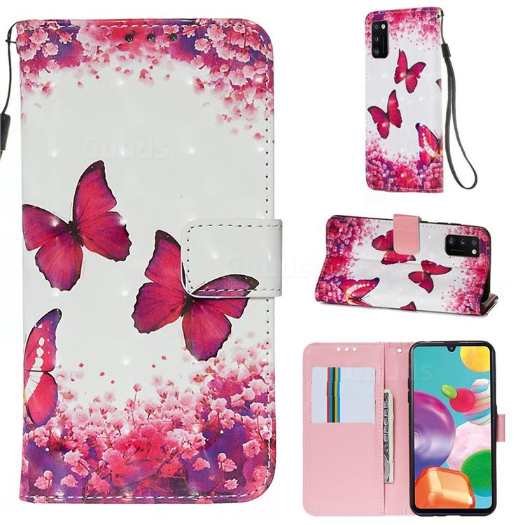 Rose Butterfly 3D Painted Leather Wallet Case for Samsung Galaxy A41