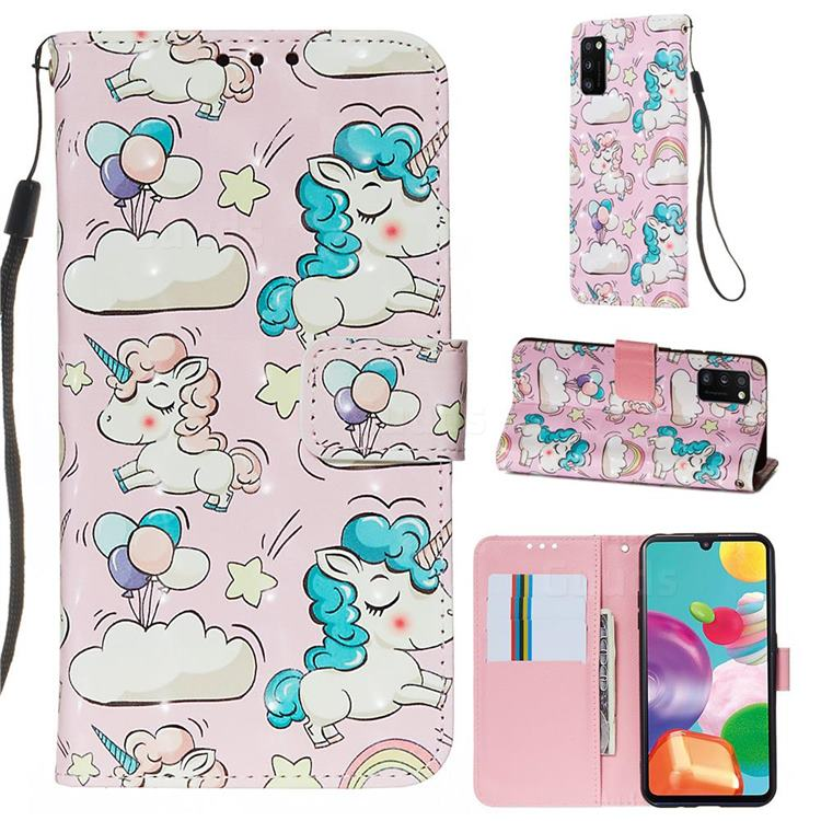 Angel Pony 3D Painted Leather Wallet Case for Samsung Galaxy A41