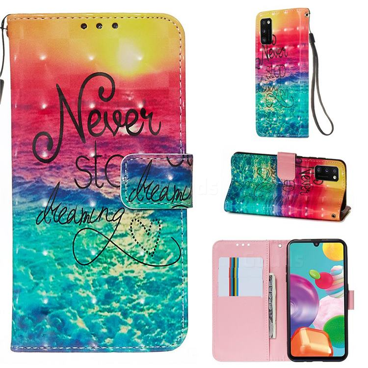 Colorful Dream Catcher 3D Painted Leather Wallet Case for Samsung Galaxy A41