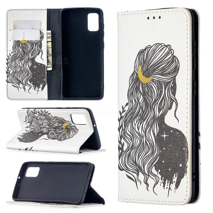 Girl with Long Hair Slim Magnetic Attraction Wallet Flip Cover for Samsung Galaxy A41