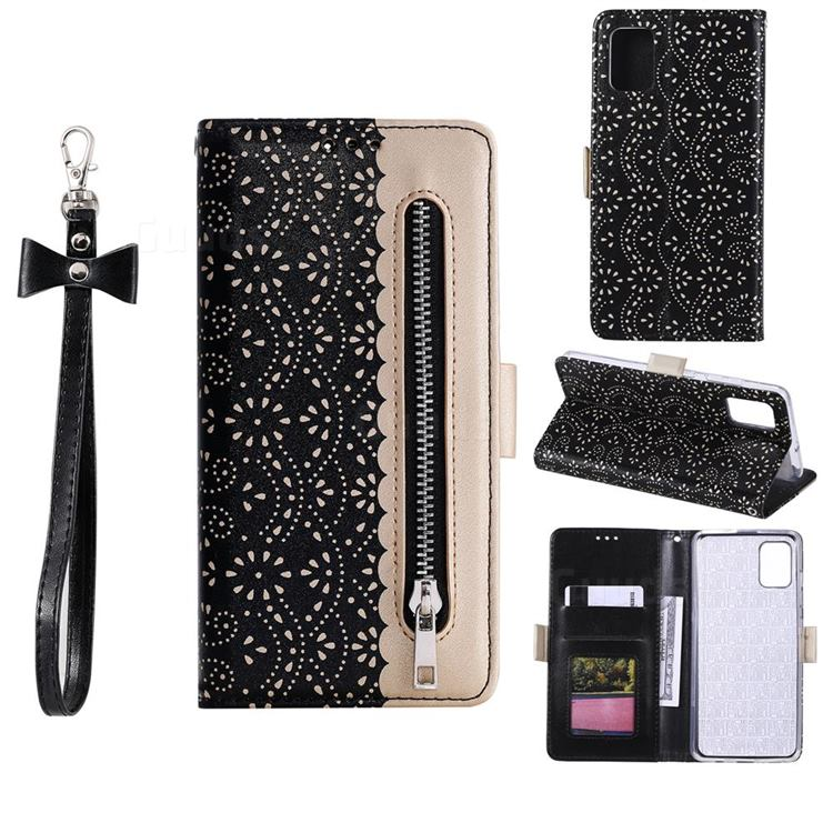 Luxury Lace Zipper Stitching Leather Phone Wallet Case for Samsung Galaxy A41 - Black