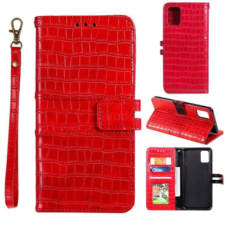 Luxury Crocodile Magnetic Leather Wallet Phone Case for Samsung Galaxy A41 - Red