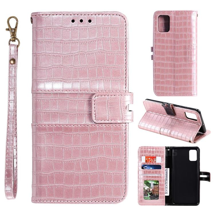 Luxury Crocodile Magnetic Leather Wallet Phone Case for Samsung Galaxy A41 - Rose Gold