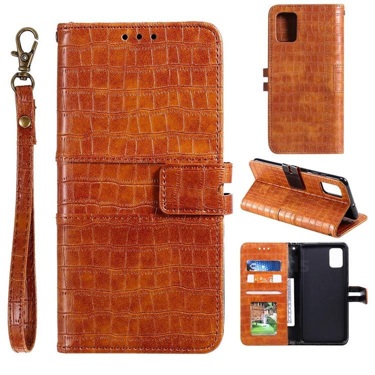 Luxury Crocodile Magnetic Leather Wallet Phone Case for Samsung Galaxy A41 - Brown