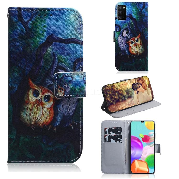 Oil Painting Owl PU Leather Wallet Case for Samsung Galaxy A41