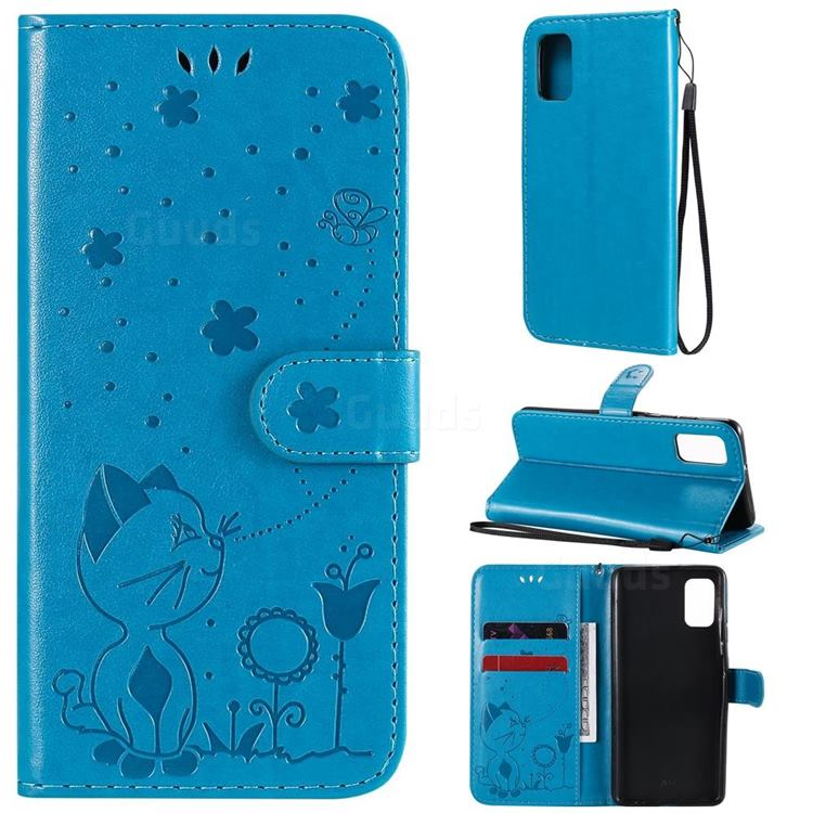 Embossing Bee and Cat Leather Wallet Case for Samsung Galaxy A41 - Blue