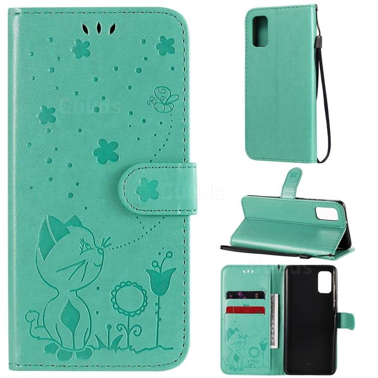 Embossing Bee and Cat Leather Wallet Case for Samsung Galaxy A41 - Green