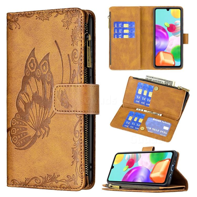 Binfen Color Imprint Vivid Butterfly Buckle Zipper Multi-function Leather Phone Wallet for Samsung Galaxy A41 - Brown